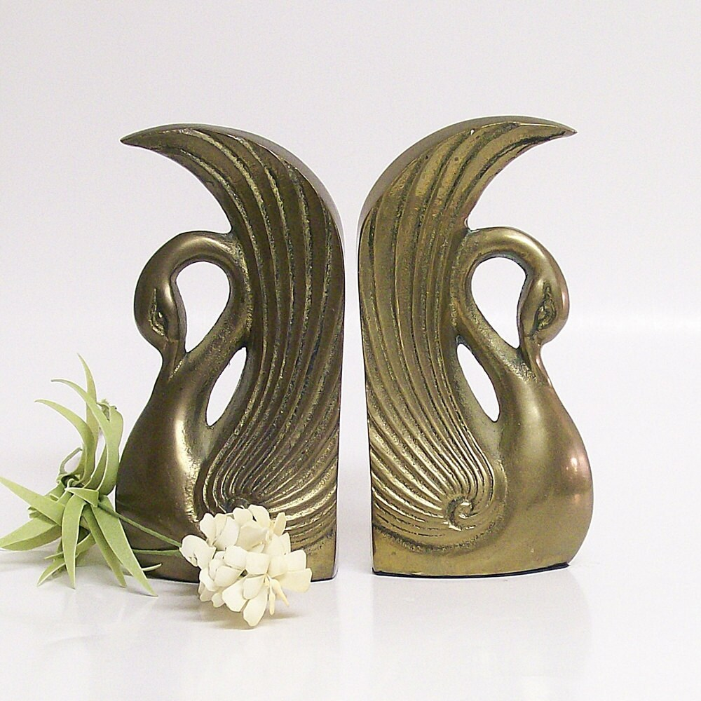 vintage brass swan bookends by vintageshelfandwall on etsy
