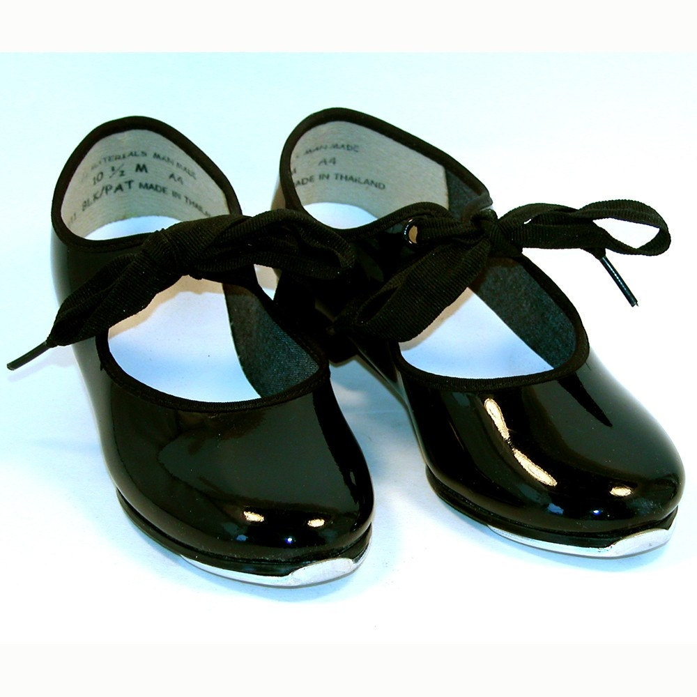 patent leather tap shoes with ribbon tie by preludes2art