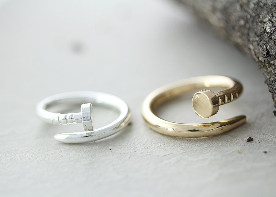 items similar to nail ring unique simple ring jewelry gold