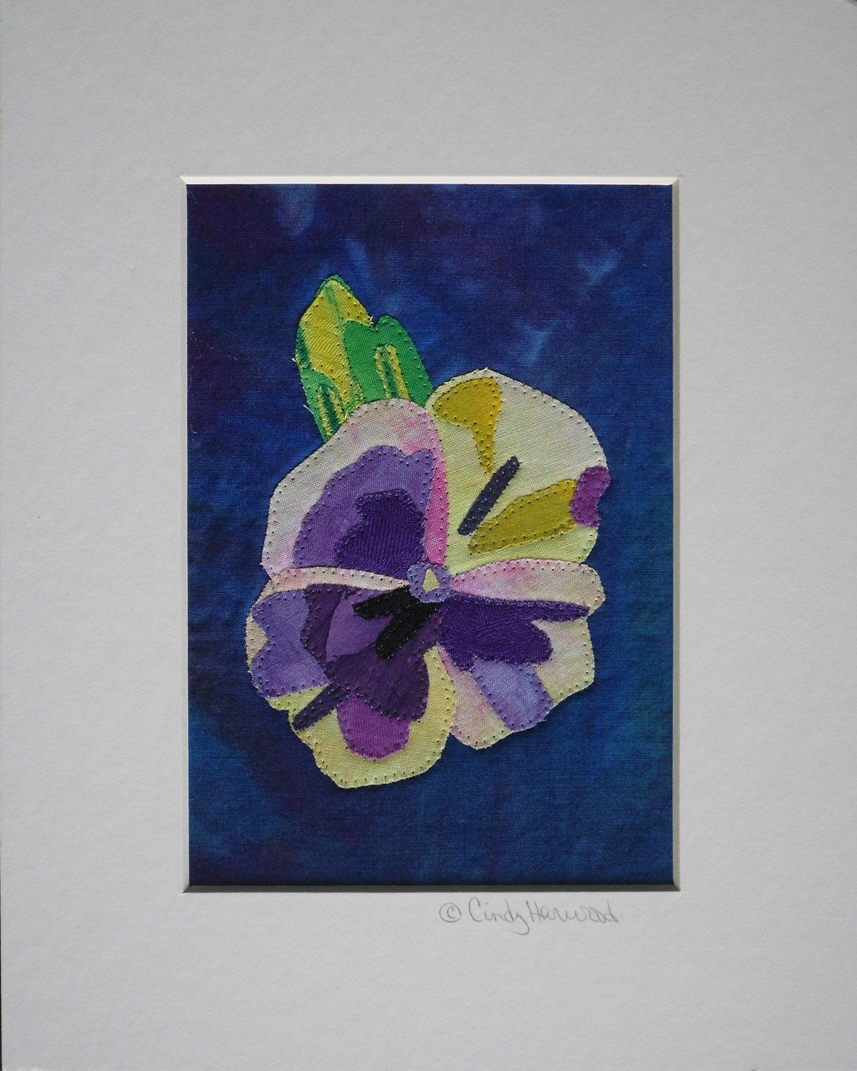 Fiber / Mixed Media Framable Art - Pansy - 8 x 10 Matted