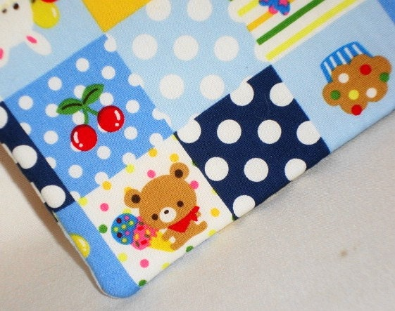 Kawaii Sweet Animal Faux Patchwork Pouch  Blue by WolfBait on Etsy
