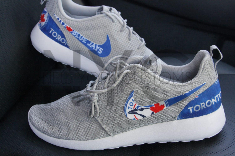 94ed01c9d520 Toronto Blue Jays Nike Roshe Run Wolf Grey Custom Men by NYCustoms 50%OFF