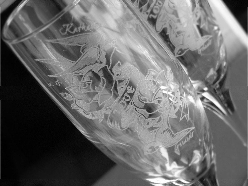Tattoo Sparrow True Love- Engraved Wedding Glass Toasting Flutes