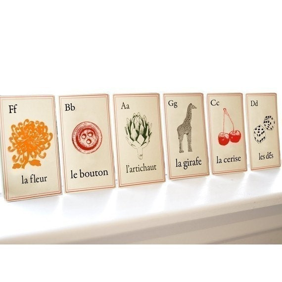 ENGLISH Alphabet Cards in French style - Full Set of 26 NOW IN LARGER 5x7 SIZE