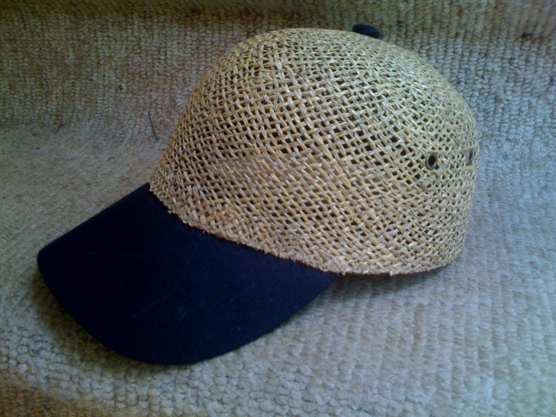 straw baseball cap sun hat by cfauxner on etsy