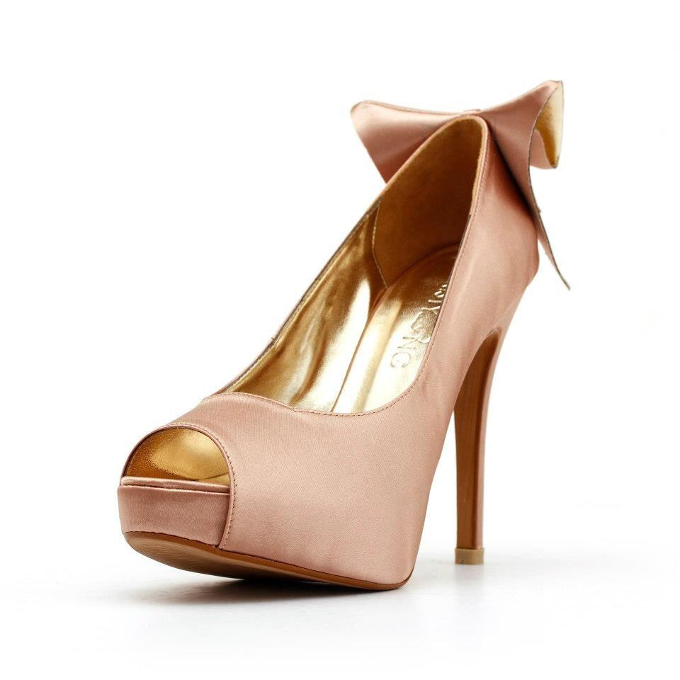 Blush Wedding Shoes. Pink Wedding Shoe with Bow. Blush Colored Bridal