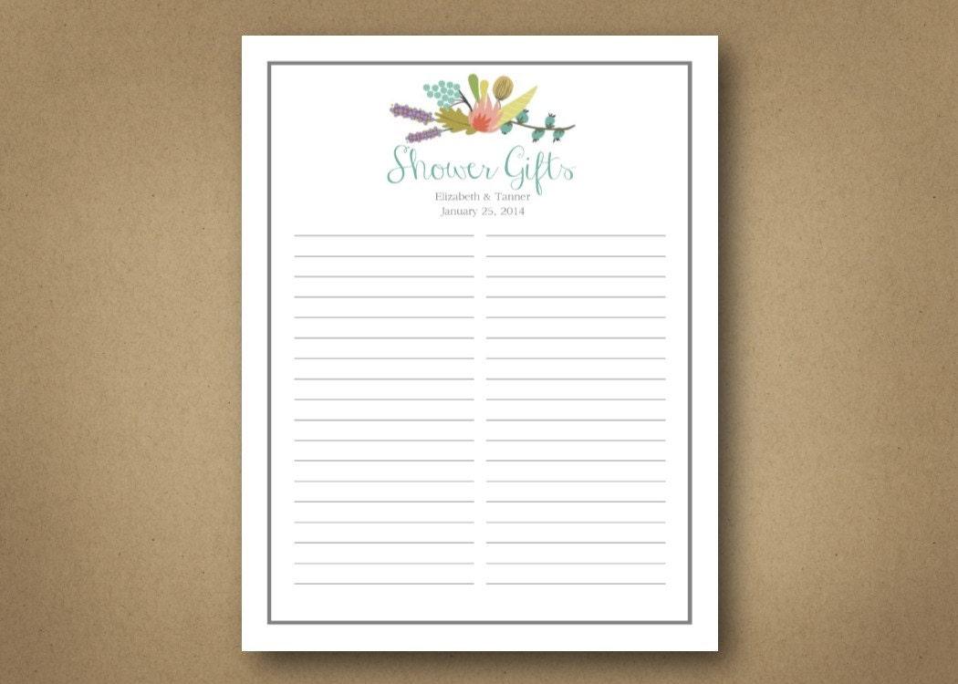 Bridal // Shower // Gift List. Cus tomizable digital download. ...