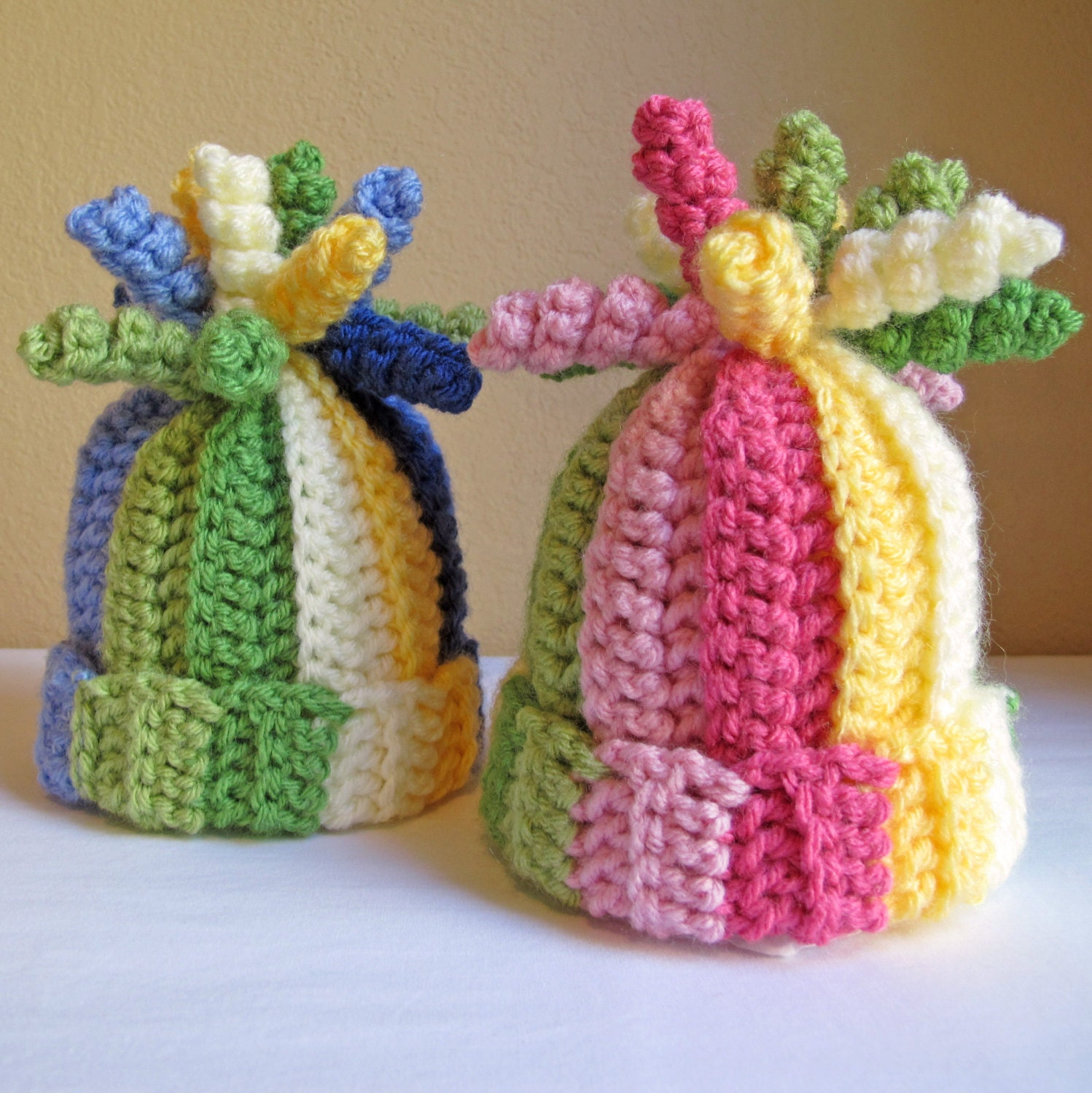 CROCHET PATTERN - Tutti Frutti - A striped corkscrew hat in 6 sizes (Infant - Adult S) - Instant PDF Download