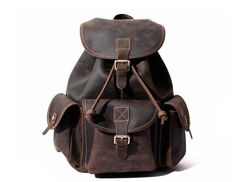 Large Handmade Vintage Leather Backpack Univercity College Backpack School  Backpack Leather Rucksack Travel Backpack