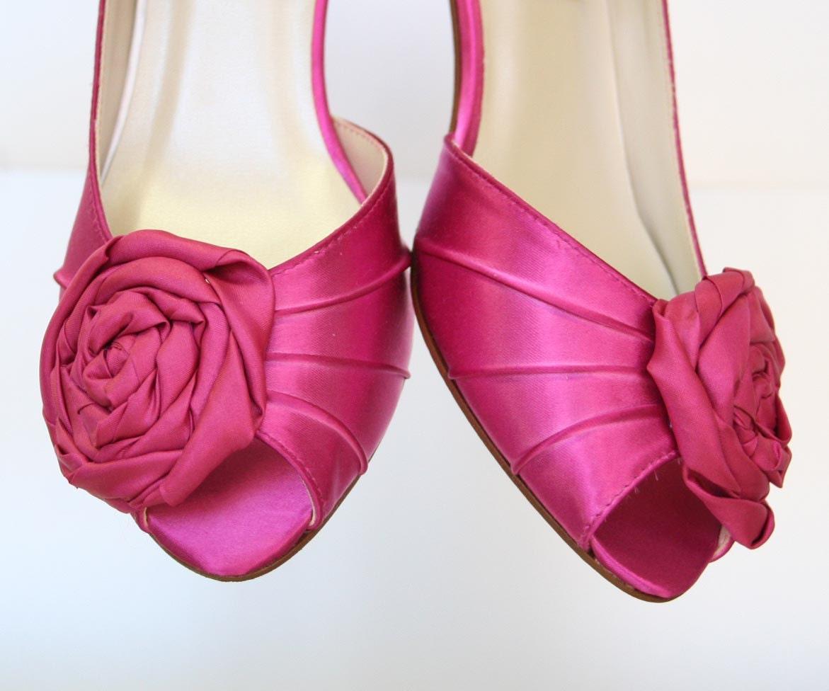 Fuschia Wedding Shoes: Wedding Shoes Fuschia Satin Peeptoes With By