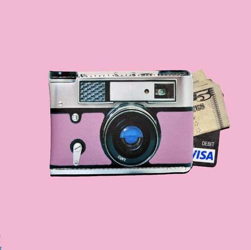 Mini Retro Pink Camera Business Gift Card Sleeve - Neoprene Version