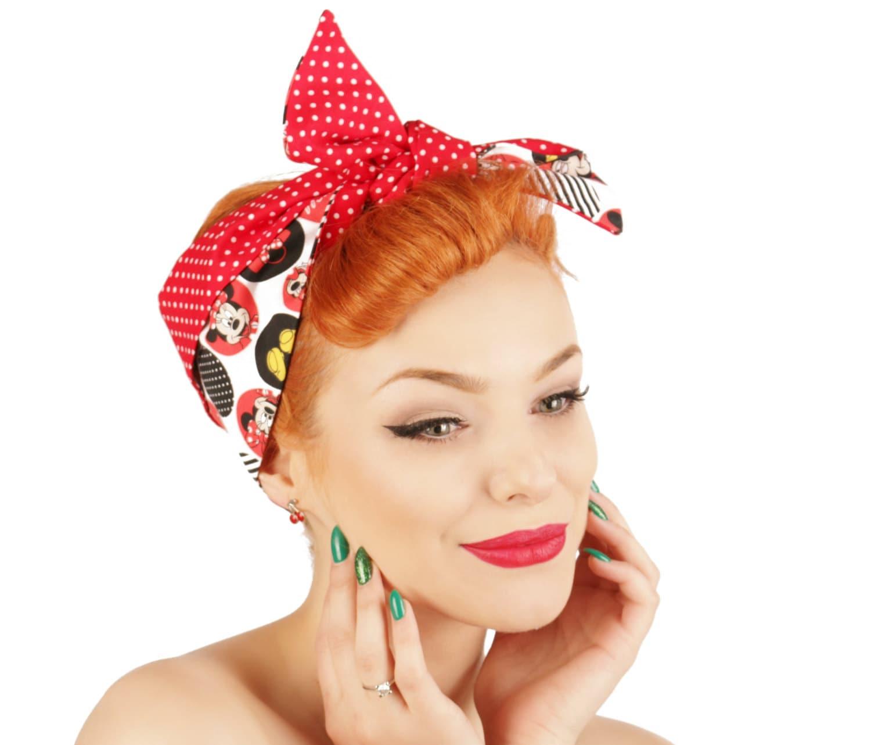 Rock Rockabilly 50s Mickey Mouse Fabric bandana Headscarf Headband MICKEE ME