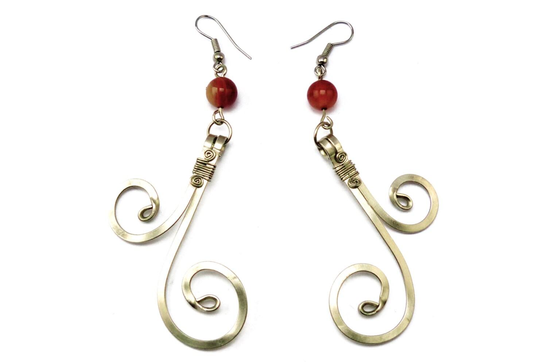 Wire Wrap Red Carnelian Earrings - Dangle Earrings - Burlesque Earrings - Gemstone Jewelry - HyppieChic