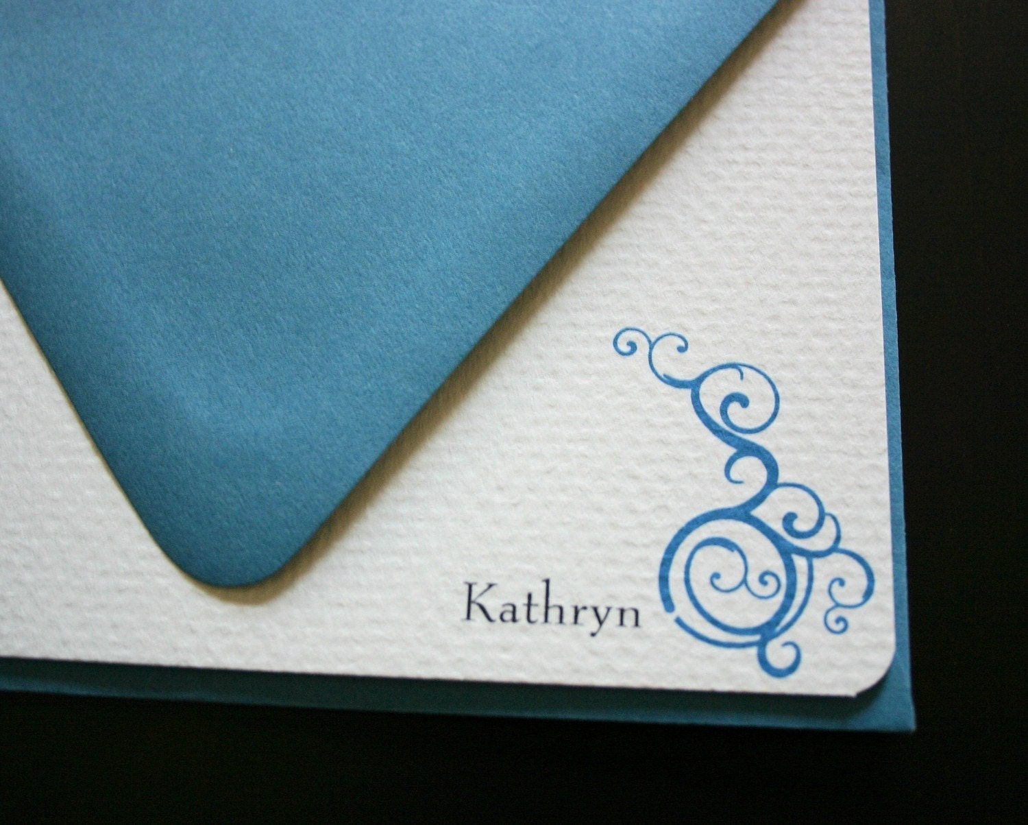Personalized Scroll notecards- Set of 6 notes w/envelopes