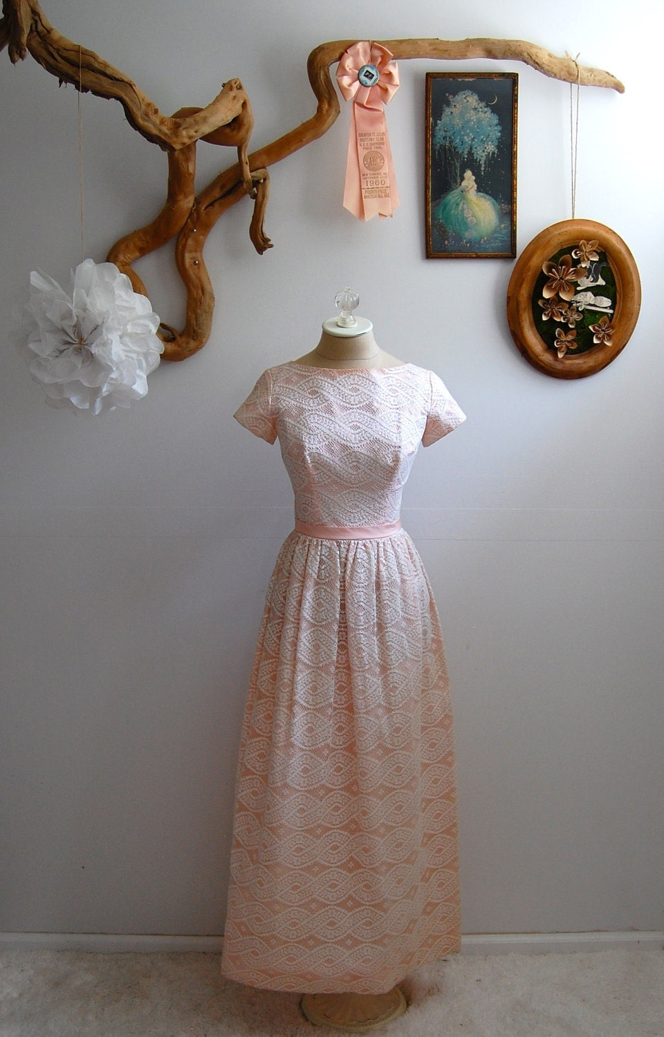 The Vera- Vintage 1960s Pale Pink & White Lace Gown