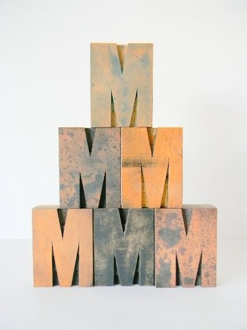 One  Large Vintage Wood Type M 3.25 inch