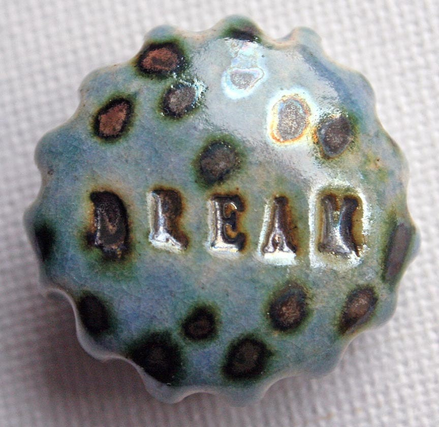 DREAM - OOAK Raku Fired Ceramic Shank Button - Copper and Blue