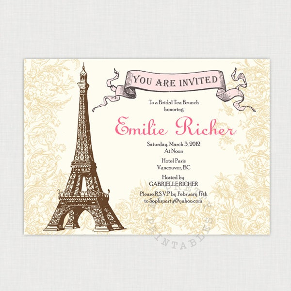Afternoon in Paris Bridal Shower Invitation - Shower, birthday or tea ...