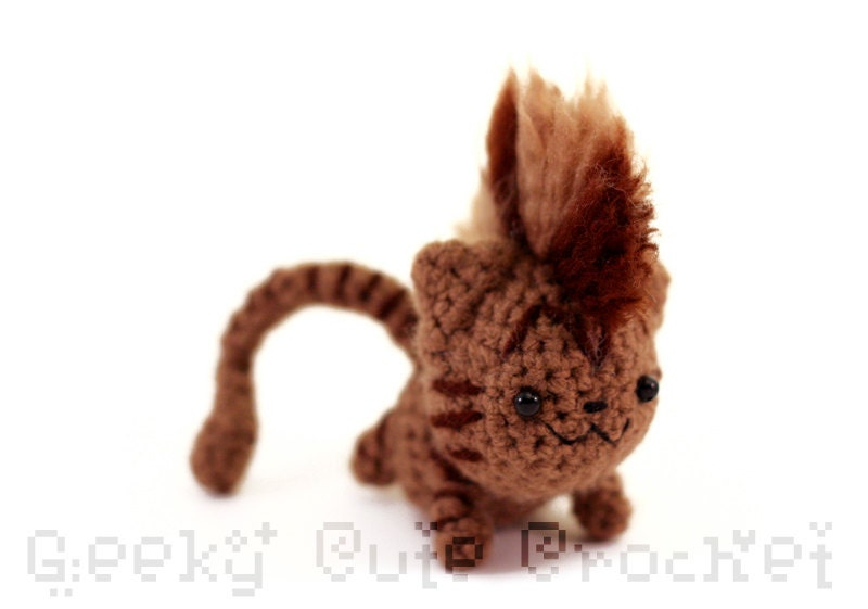 Amigurumi Tabby Cat : Mohawk Kitty Amigurumi Brown Tabby Kitten Cat by ...
