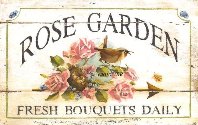 Vintage Rose Garden Print