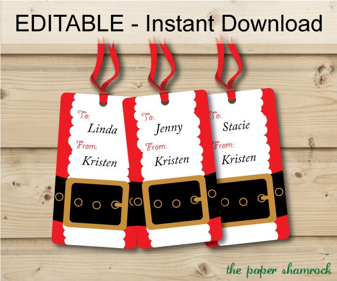 Items similar to editable instant download santa39s belt printable gift tags holiday gift tags for Free printable editable christmas gift tags