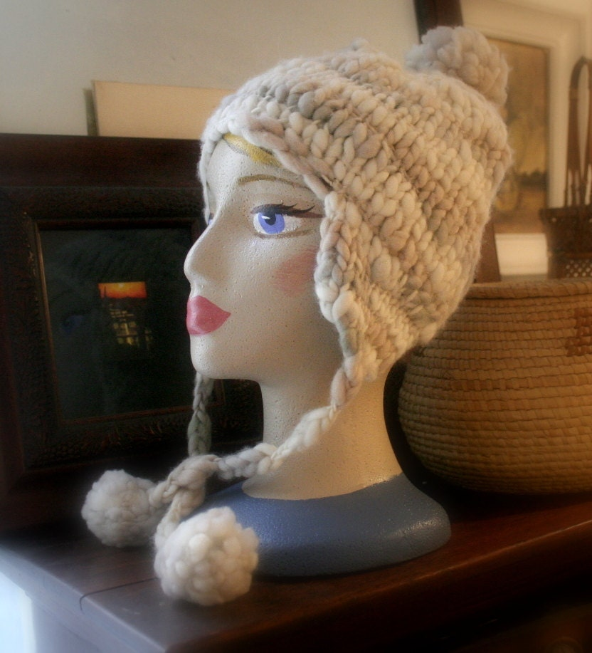 Knit Hat Ear Flaps Pattern : Knitting Pattern / Snow Hat with ear flaps / pdf by swoonfibers