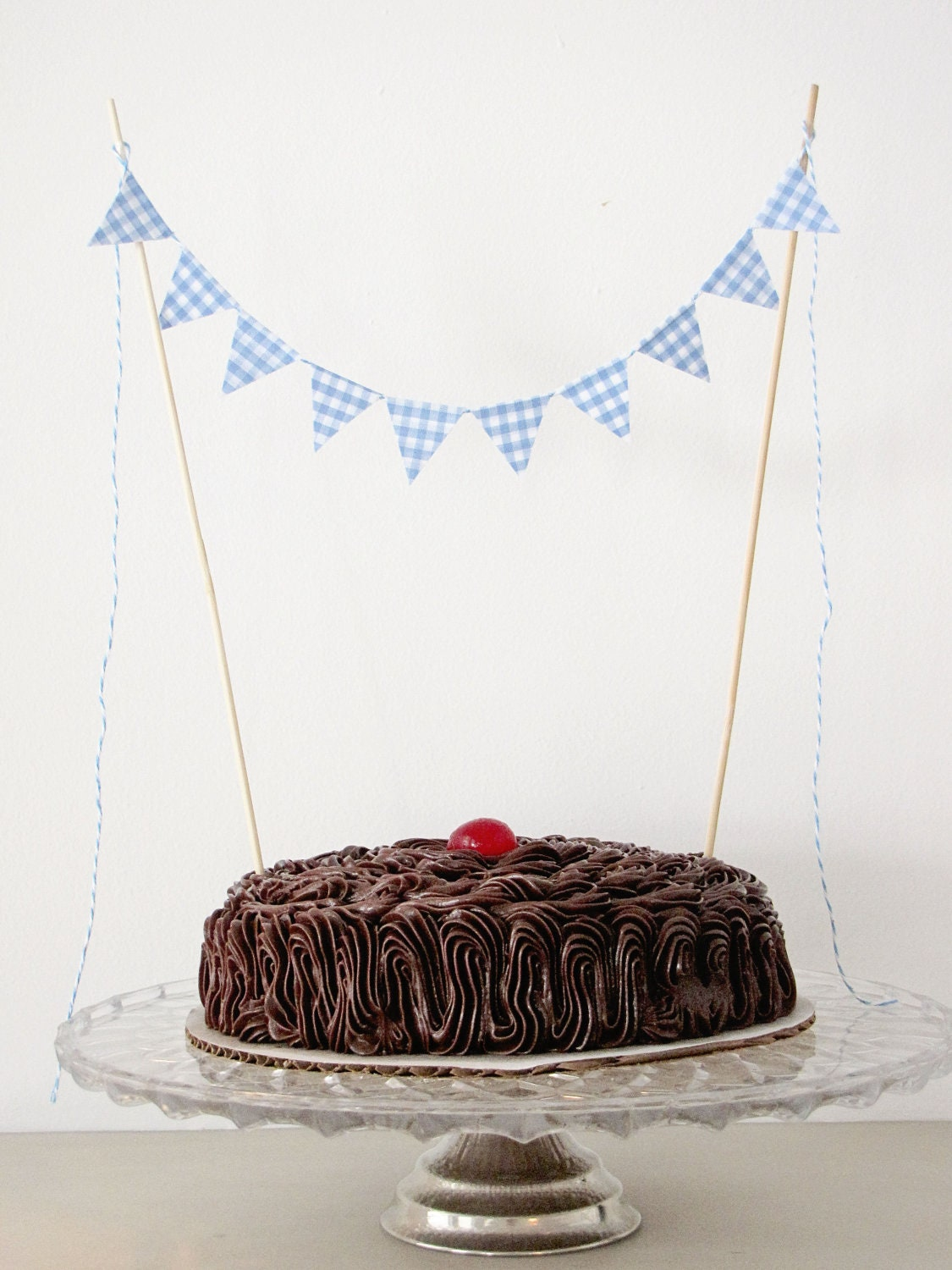Fabric Cake Bunting Decoration - Cake Topper - Wedding, Birthday Party, Shower Decor in blue gingham