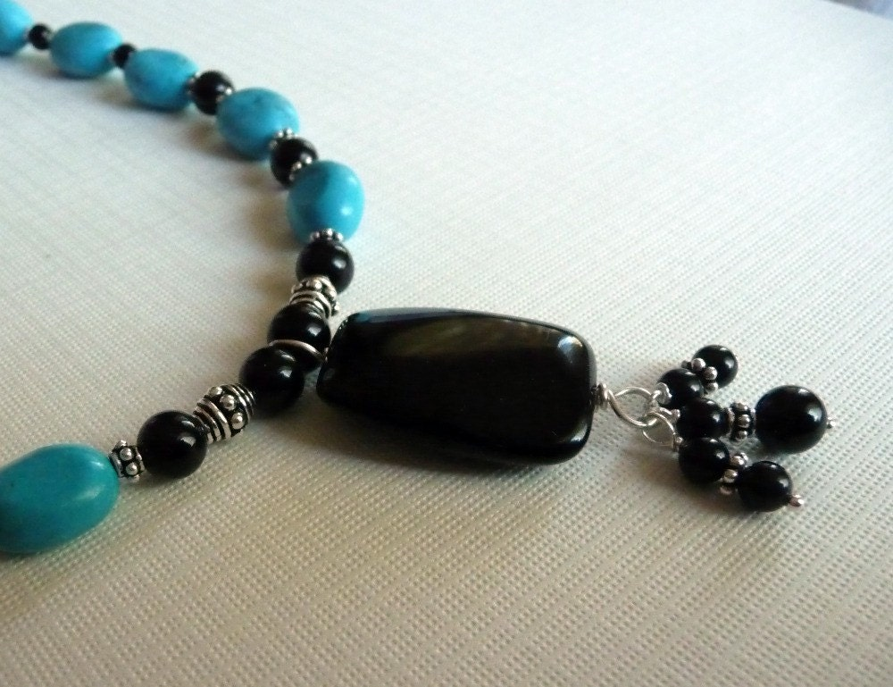 SALE Enchanting Midnight Turquoise Sterling Silver Necklace