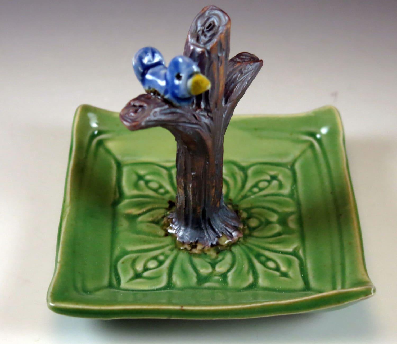 Ring Holder - Ring Dish - Apple Green - Blue Bird in Tree - 562