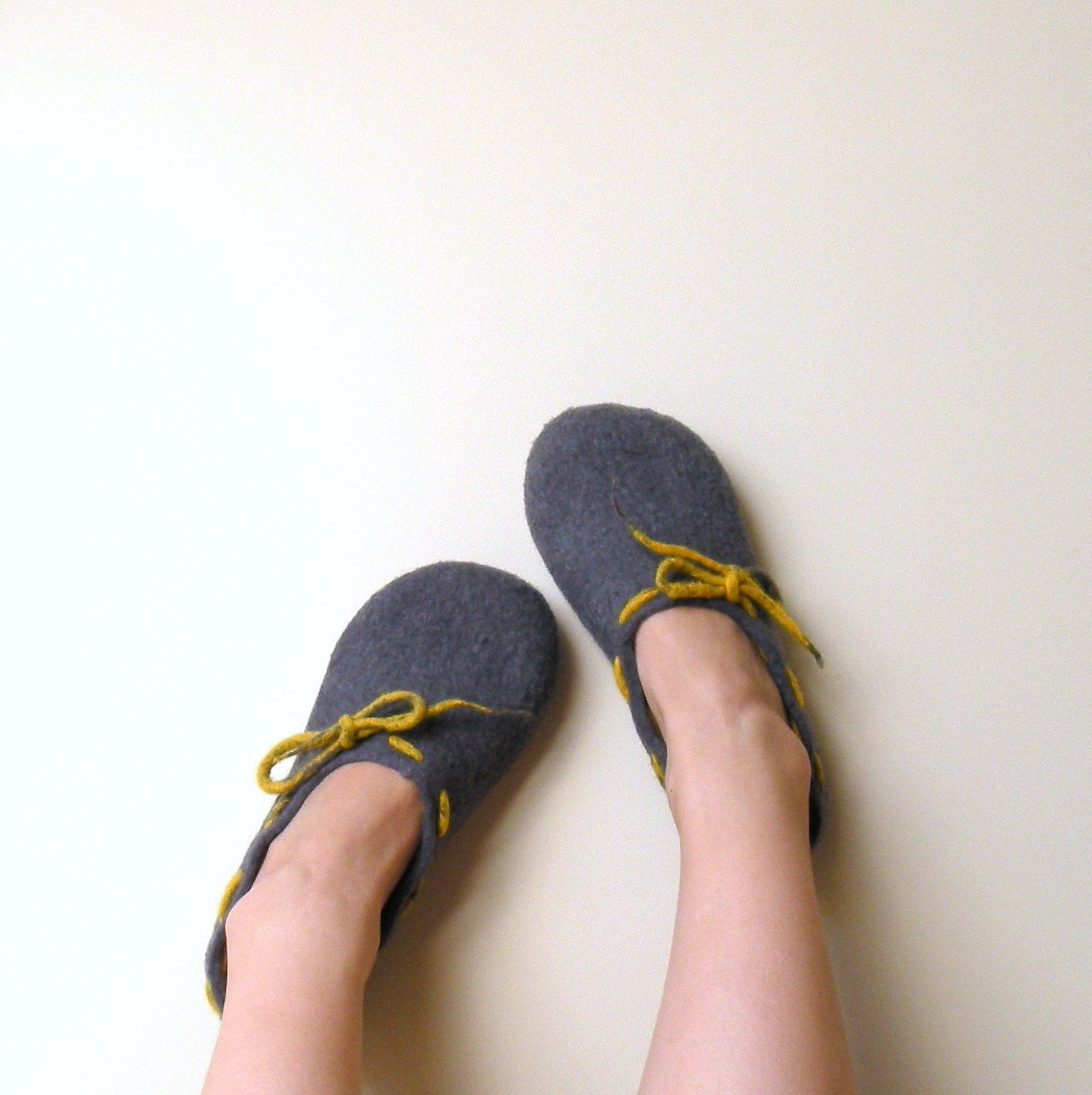 Felted wool women slippers Grey yellow - wool clogs - made to order - Wedding gift   - cozy warm - AgnesFelt