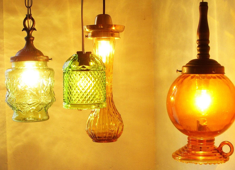 UpCycled ReCycled Unusual Vintage Golden Honey Amberina Drip Vase Glassware Hanging Pendant Lighting Fixtures