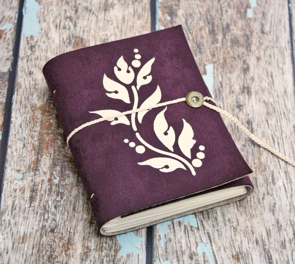 Purple Plum Eggplant Vine Leaves Vegan Leather Journal faux suede journal Pleather notebook diary - OxtonBooks