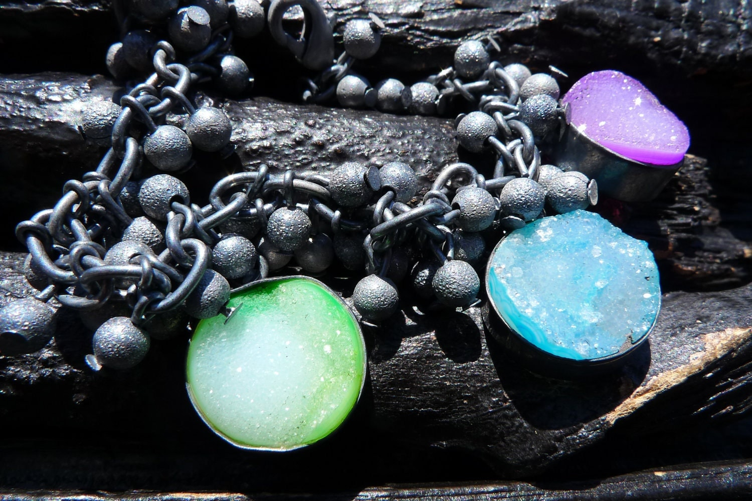 30 OFF SALE rainbow druzy bracelet by BeijoFlor by BeijoFlor