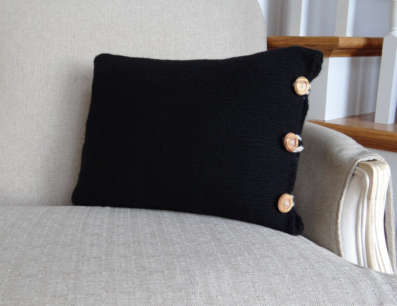 Black Knit Upcycled Wool Sweater Pillow - TrimmingsShop
