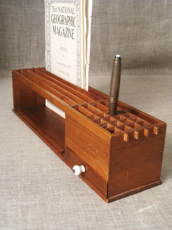 Brilliant Vintage Wood Desk Organizer With Doors  EBay