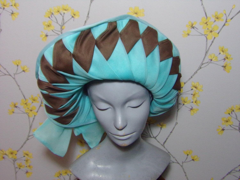 Vintage 70s Nylon Wide Brim Hat Light Aqua Turquoise and Brown Lozenges Wide brim Hat Bridal Hat Harlequin Fits 22