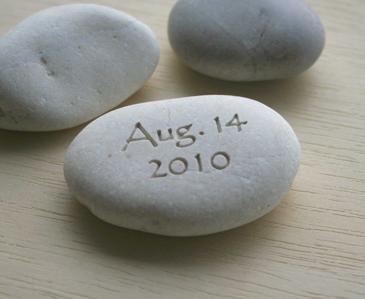 Petite love stone (TM) - you plus me personalized initials pebble with date - Double sided engraved pebble by sjEngraving