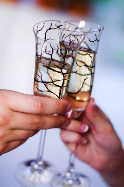 Personalized Tree Branch Wedding Toasting Flutes--Set of 2 Customized Champagne Flutes