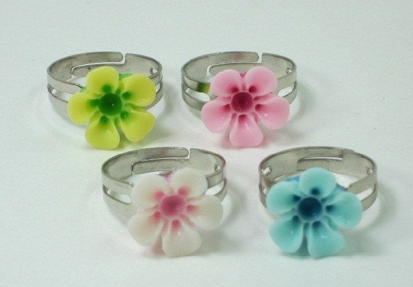 Vintage Inspired Lucite Flower Ring on Silver Adjustable Band - CHOOSE YOUR COLOR