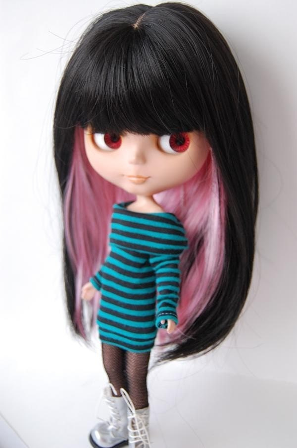 Black and Pink Straight wig with Bangs for Blythe Dolls