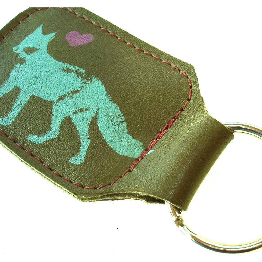Etsy :: Thick Olive Green Leather Keyring with Screenprinted Fox and Heart