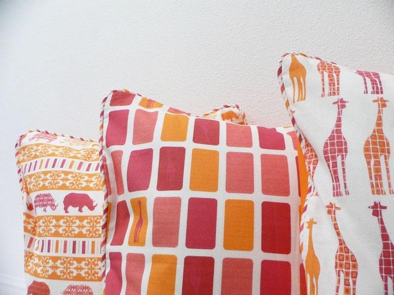 Pillow Cover  - Original Fabric - Giraffe Boxes
