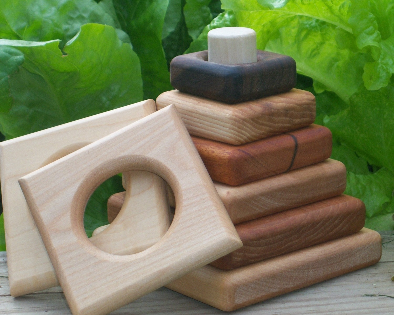 5dollars DONATED- Stacker and Teether Gift Set,  All Hardwood  SAVE 8 dollars Organic, Natural TickiTackiToys