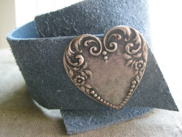 Soft Slouchy Suede Cuff Bracelet with Pewter Heart