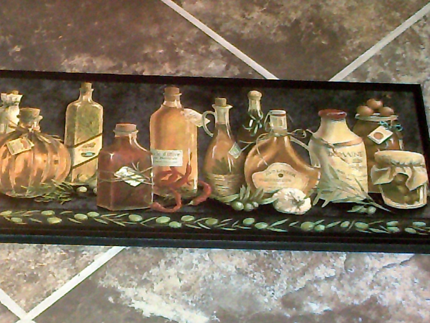 items similar to olive bottles kitchen wall decor