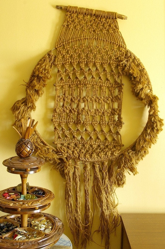 Vintage macrame wall hanging by 51vc on etsy