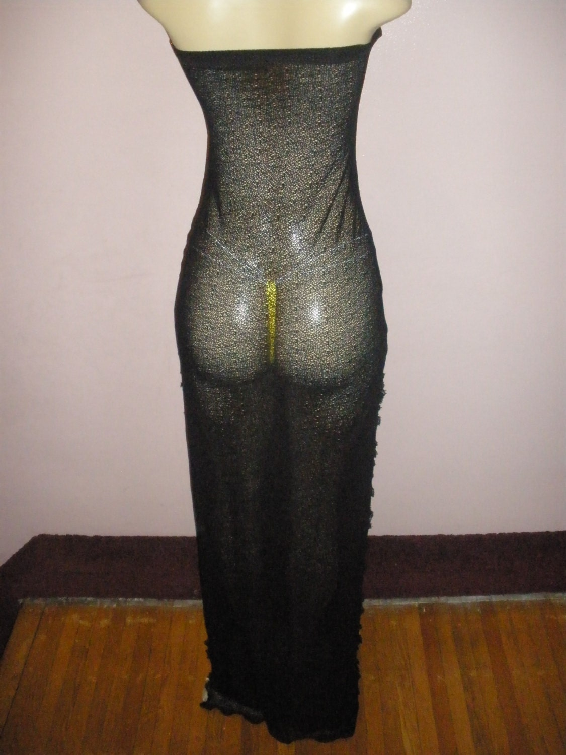 Beautiful Jet Black Soft Stretch Net Swimsuit Cover Up Fits Size Medium/Large