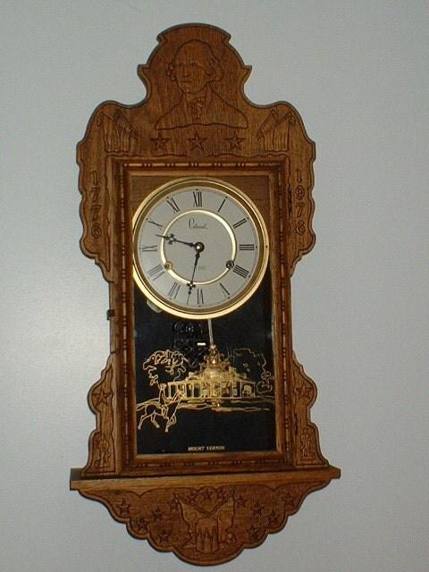 Vintage oak hanging kitchen wall clock mount vernon by pbclocks - Wall mounted grandfather clock ...
