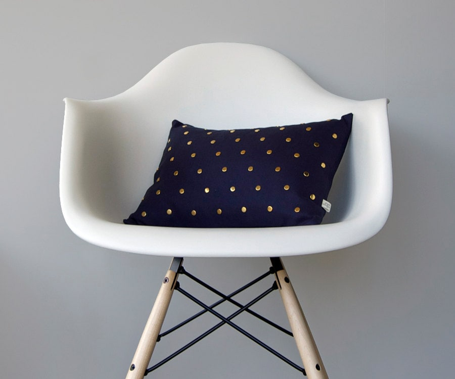 Studded Pillow Cover in Navy Linen | Polka Dot Pattern | by JillianReneDecor | Geometric Pillow | Home Decor | Gold Brass Studs - JillianReneDecor