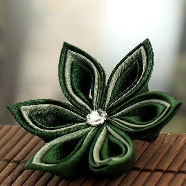 Wood Elf - Kanzashi  Silk Flower Hair Clip